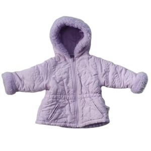 OKIE DOKIE Lilac Hooded Winter Coat, Faux Fur, 18m